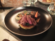 Lamb: Shoulder, Flank, Loin, Rosti, Aubergine Caviar, Spinach, Carrot, Baby Turnip