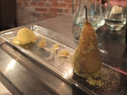 Pearstachio: poach pear in a pistachio crumb, mango cardamom icecream