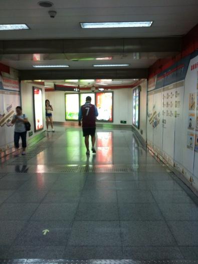 Mr T walking through the Metro station
