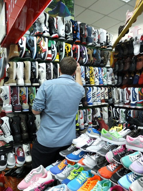 Mr T perusing the selection of trainers