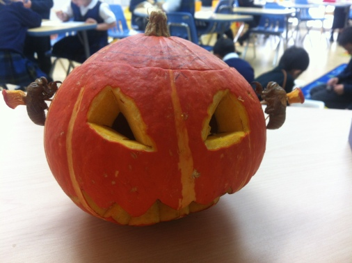 Halloween at school, this pumpkin brought in by one of my students