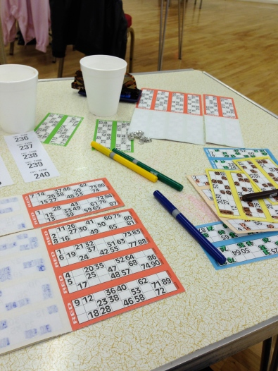 Bingo at the Memorial hall, Mrs T's first time!