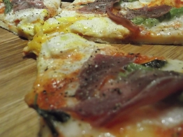 Our favourite pizza, The Bismark (asparagus, prosciutto, and egg)