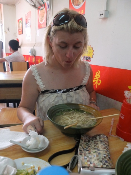 Chinese noodles, a bit daunting with a spoon!