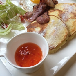 Bacon pancakes including sweet chilli sauce!