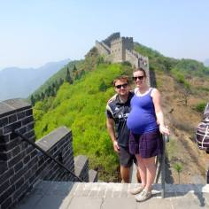 On The Great Wall of China at 32 weeks
