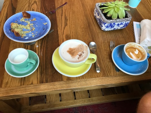 cold milk, chai latte, flat white and the remains of in house pistachio cardamon cake