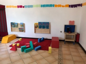 toddler sensory play area and books