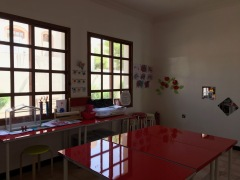 art room and windows looking out into garden